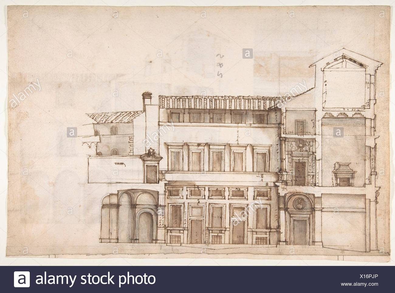 Palazzo Pirro in Rome, section (recto) Palazzo Pirro in Rome, sections; profiles (verso). Draftsman: Drawn by Anonymous, French, 16th century; Date: - Stock Image