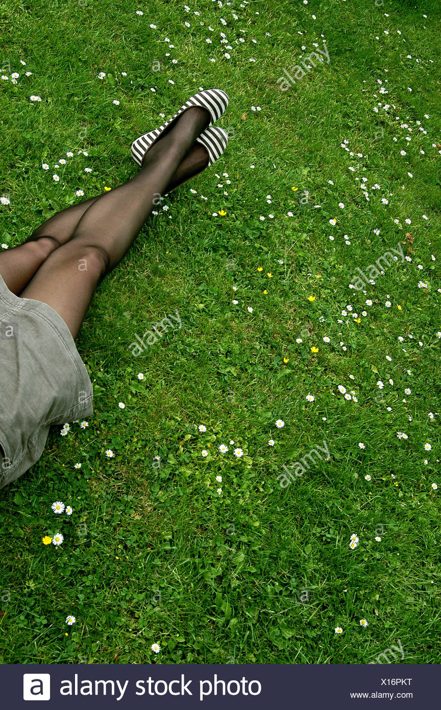 pantyhose and grass