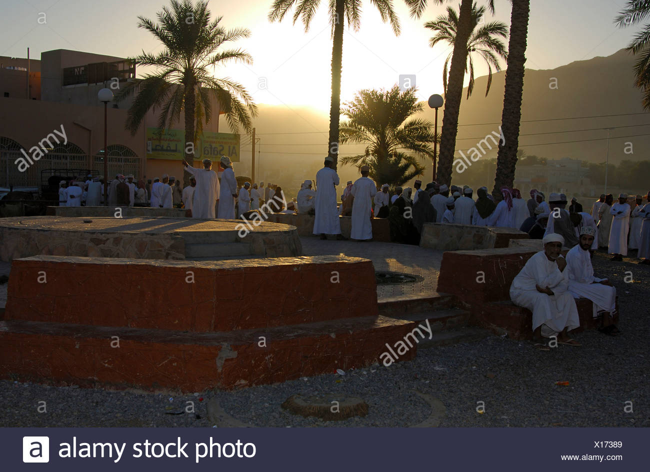 Early morning on the goat market in Nizwa, Sultanate of Oman - Stock Image
