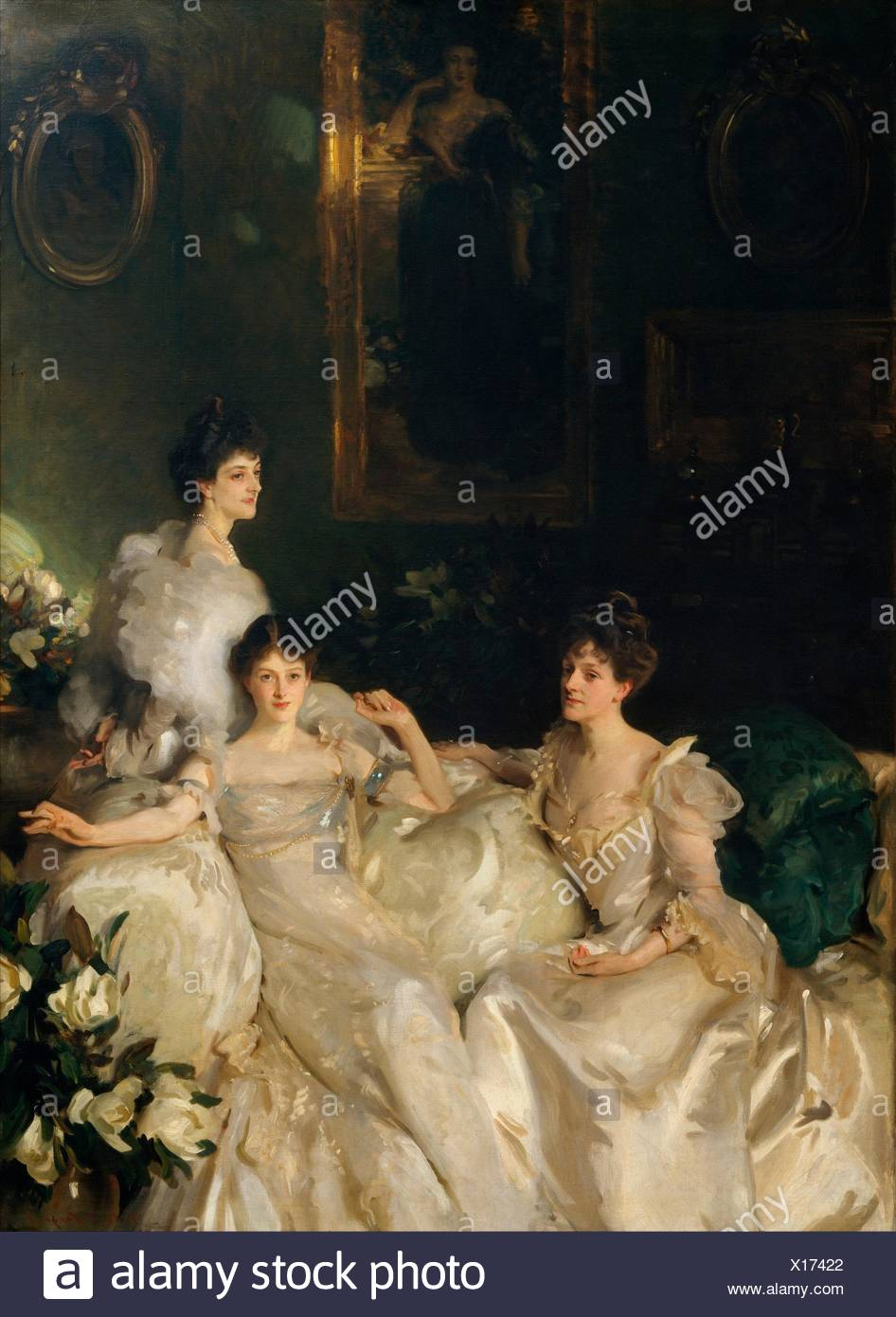 The Wyndham Sisters: Lady Elcho, Mrs. Adeane, and Mrs. Tennant. Artist: John Singer Sargent (American, Florence 1856-1925 London); Date: 1899; - Stock Image