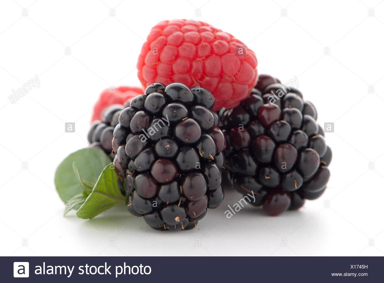 Raspberry with blackberry - Stock Image