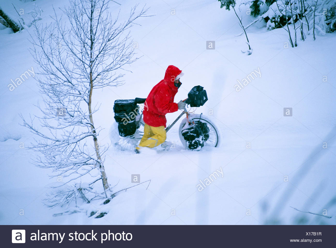 A woman walking with a bike in deep snow Sweden - Stock Image