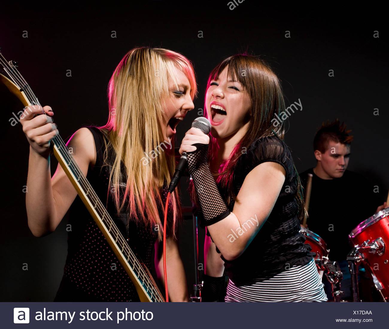 teenage rock band - Stock Image
