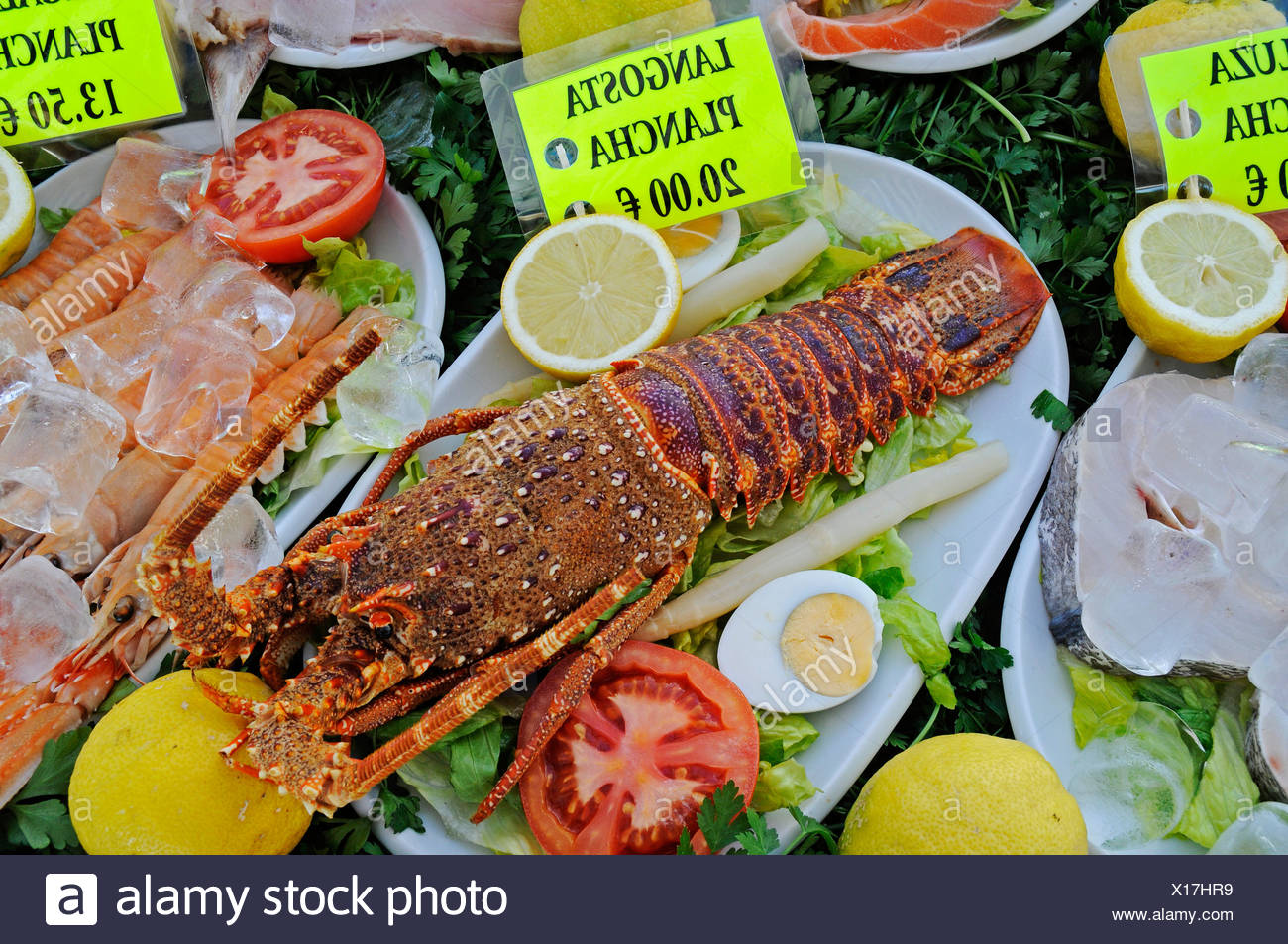 Crawfish at a seafood restaurant, Calpe, Alicante, Costa Blanca, Spain - Stock Image