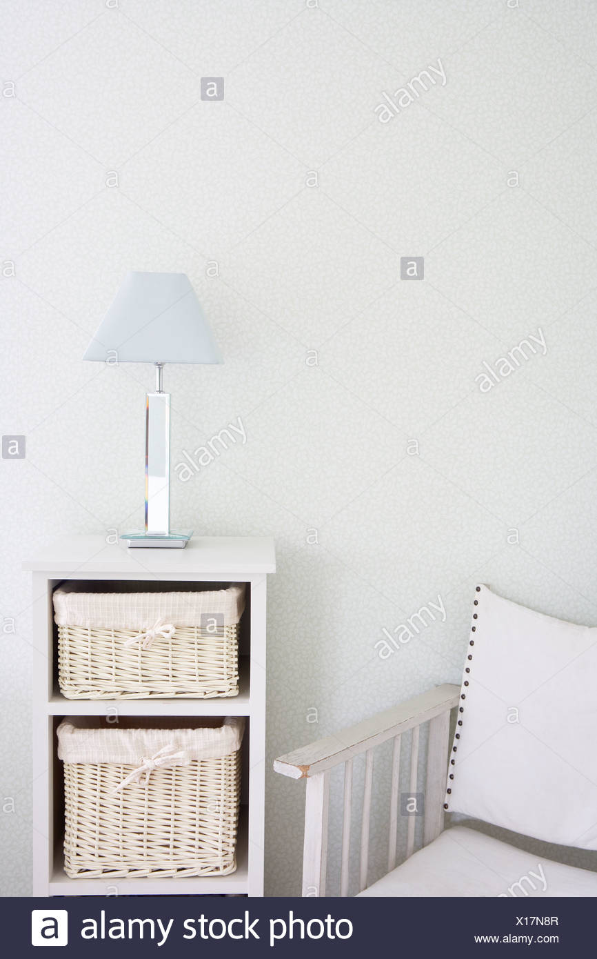 Canvas Chair And Storage Unit - Stock Image