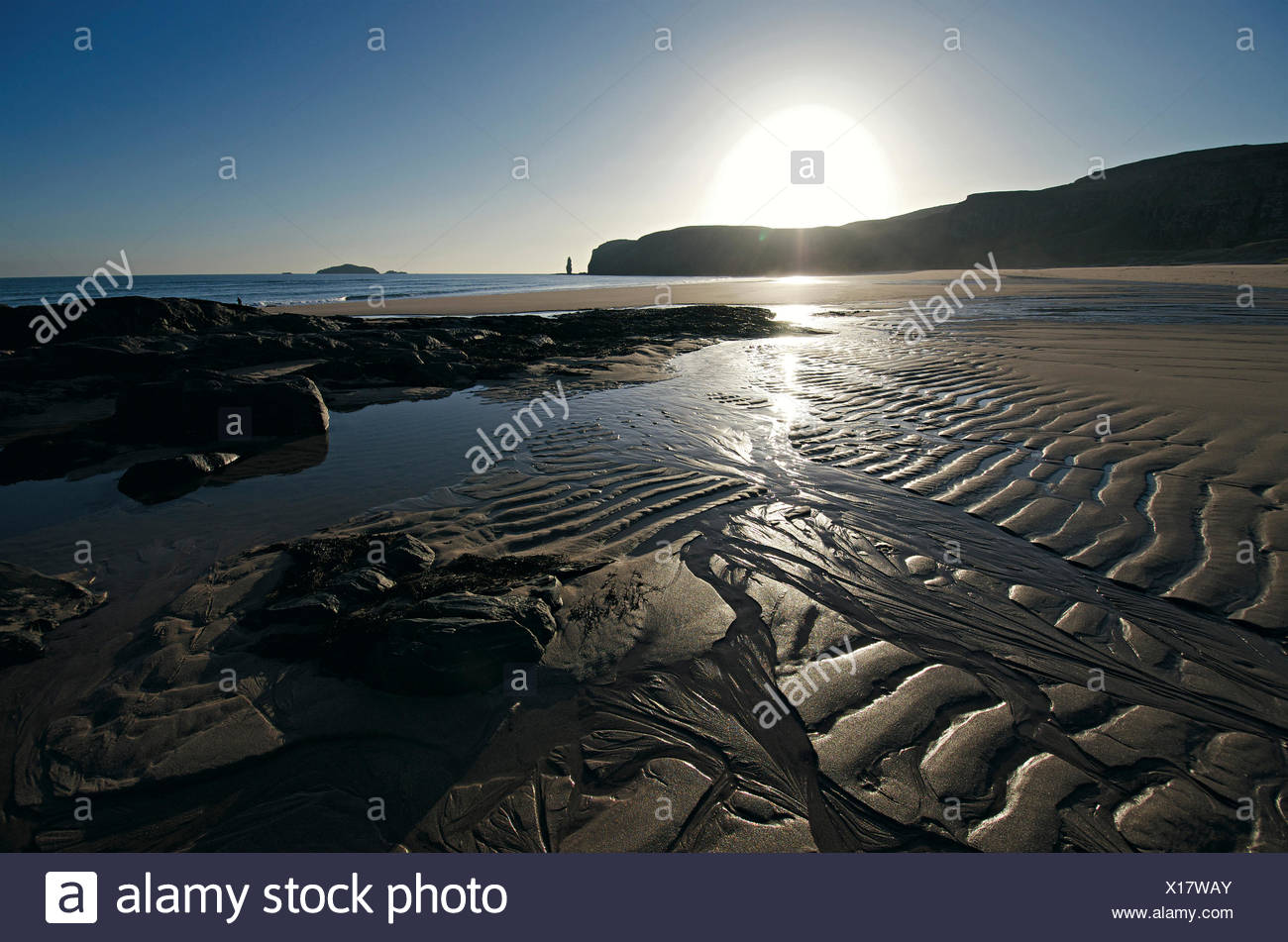 Beach of Sandwood Bay, Highlands, Scotland, Great Britain - Stock Image