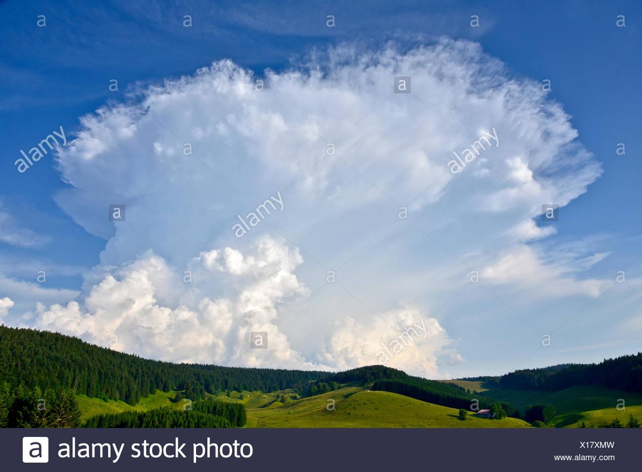 Cumulonimbus training in summer - Jura France - Stock Image