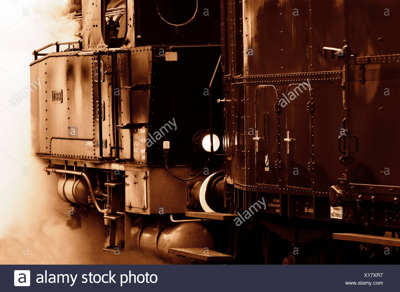 a steam locomotive - Stock Image