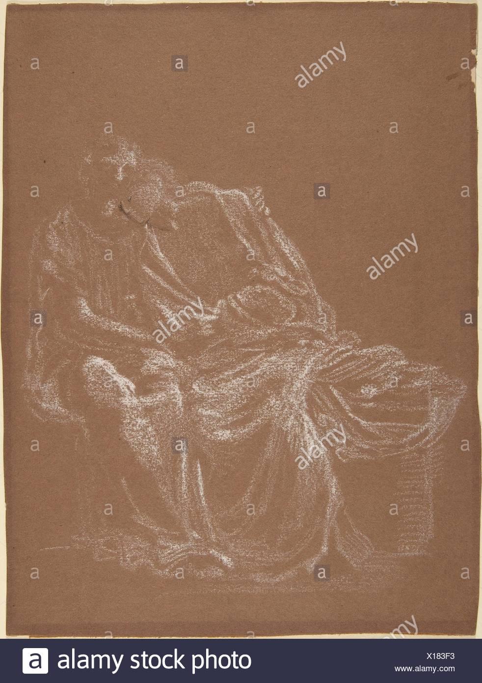 A Seated Couple, Embracing. Artist: Sir Edward Burne-Jones (British, Birmingham 1833-1898 Fulham); Date: ca. 1865; Medium: White chalk with touches - Stock Image