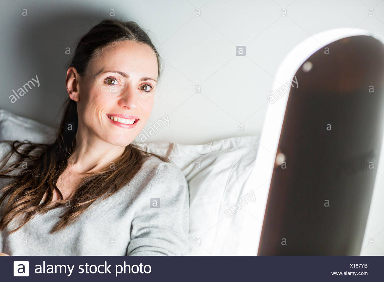 Light therapy, or phototherapy : treatment of depression with light. - Stock Image