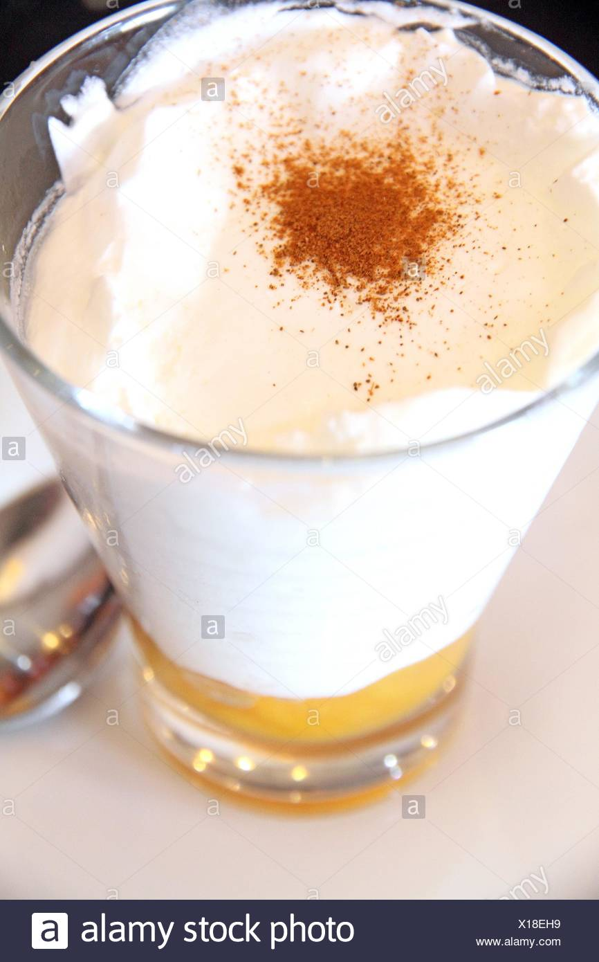 mousse dessert and Cinnamon. - Stock Image