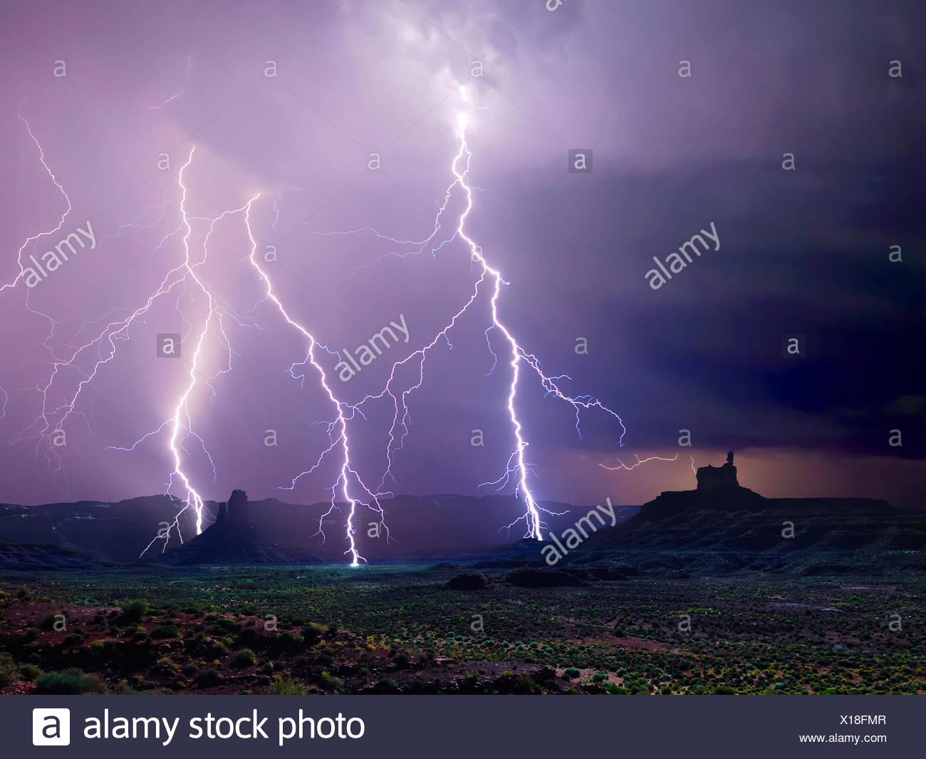 Lightning storm, Valley of the Gods, Utah, America, USA - Stock Image