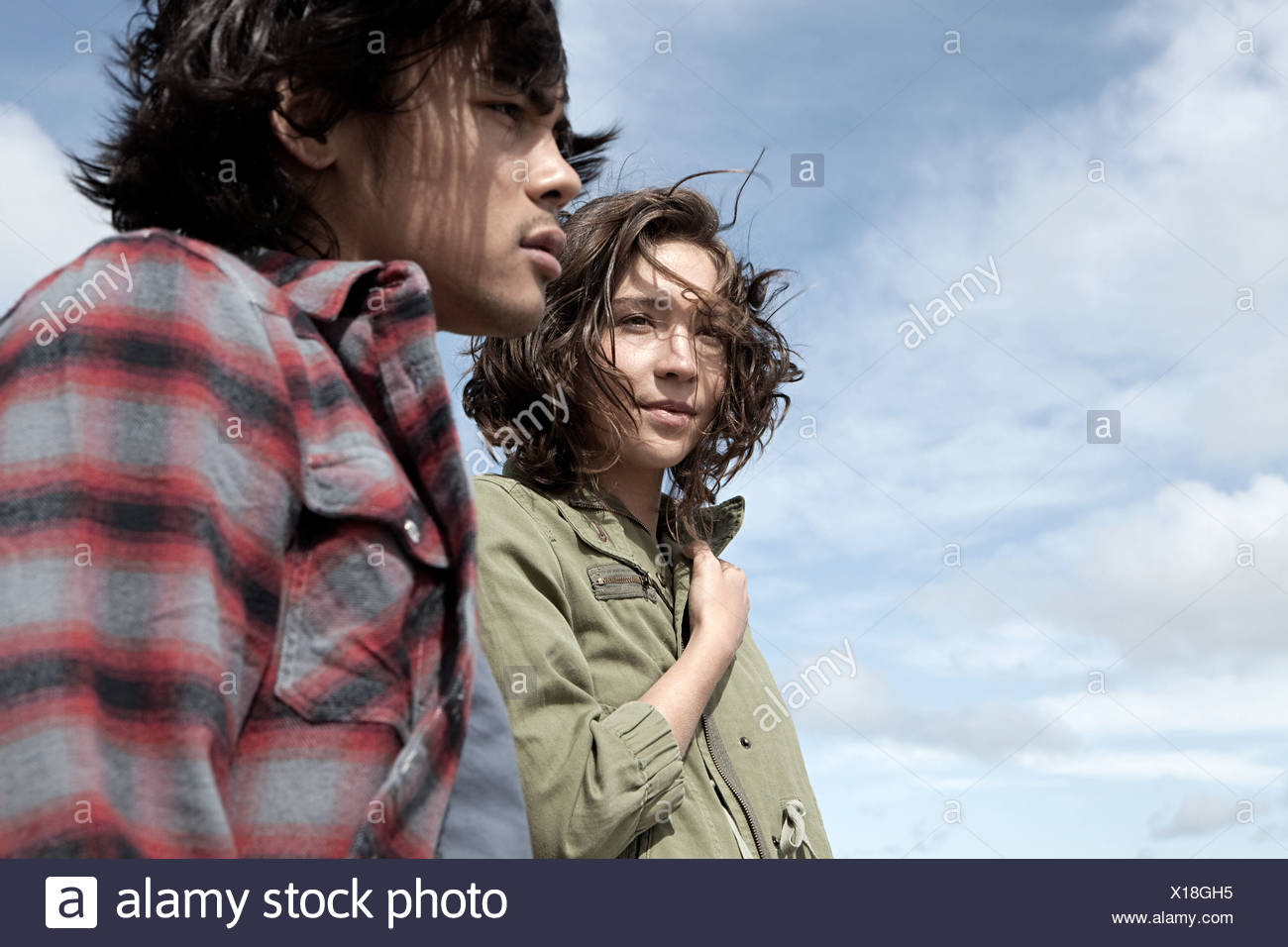 Young couple in great outdoors - Stock Image