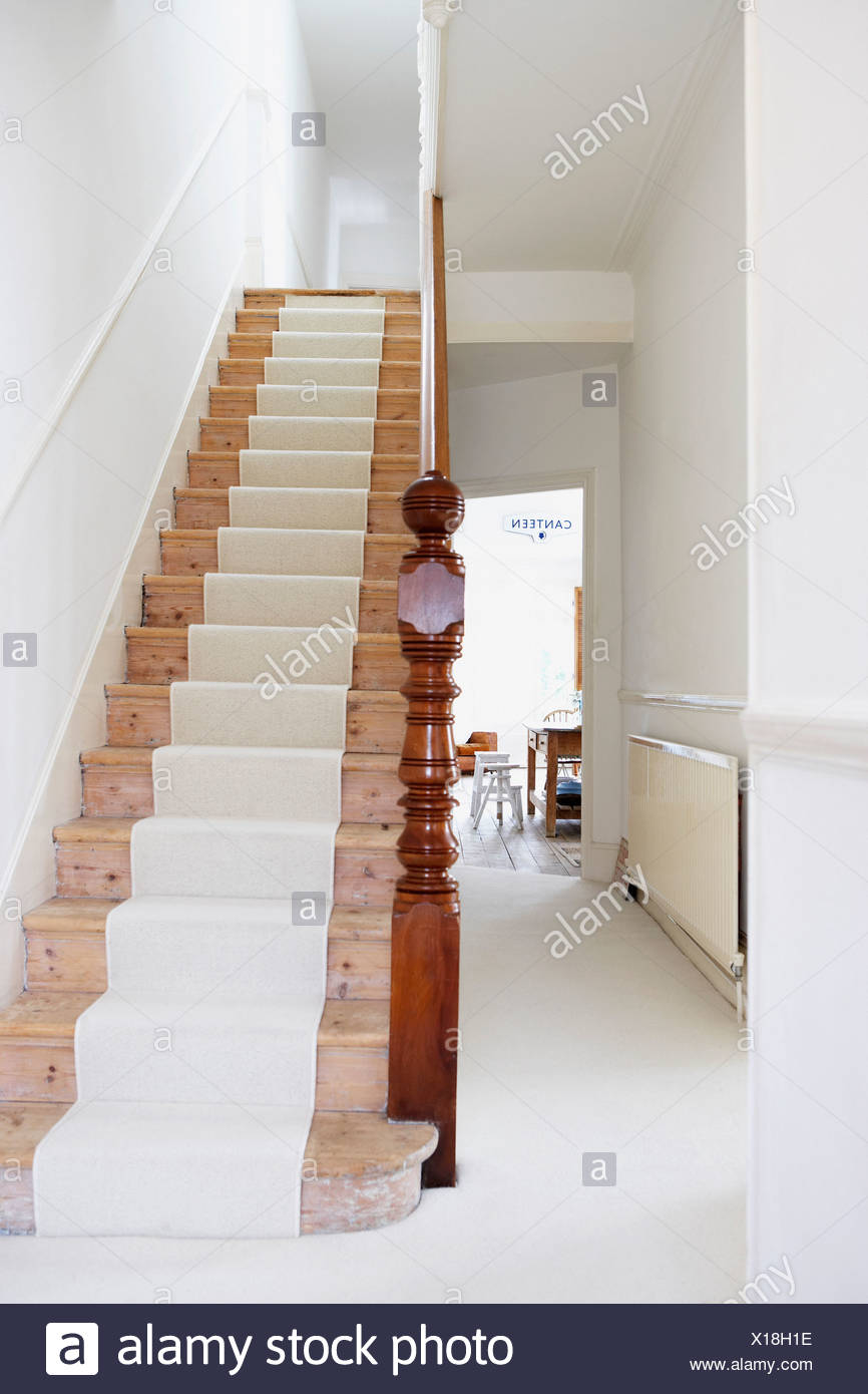 Staircase With Runner And Empty Hallway   Stock Image