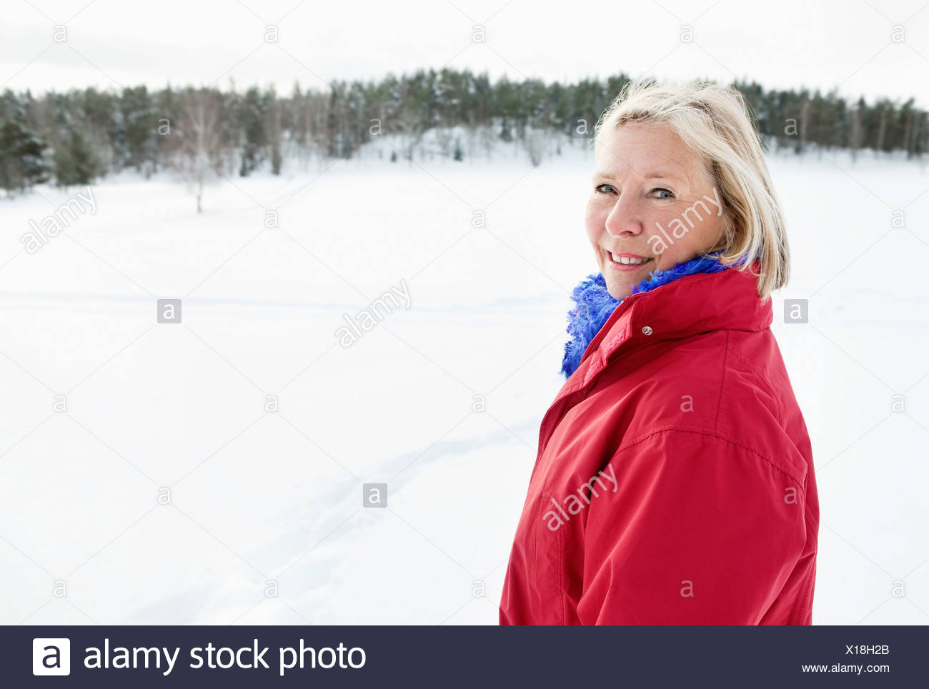 Closeup on lonely woman outdoors - Stock Image
