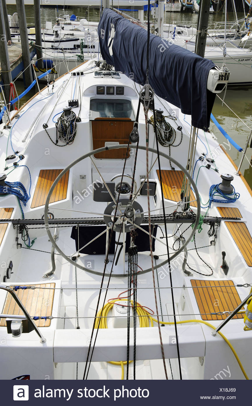 View of the inside of a sailboat from behind or aft Stock Photo