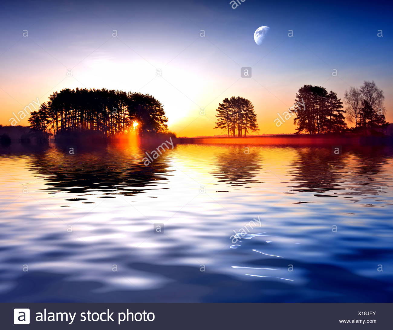 Spring landscape on a background beautiful sunrise. - Stock Image