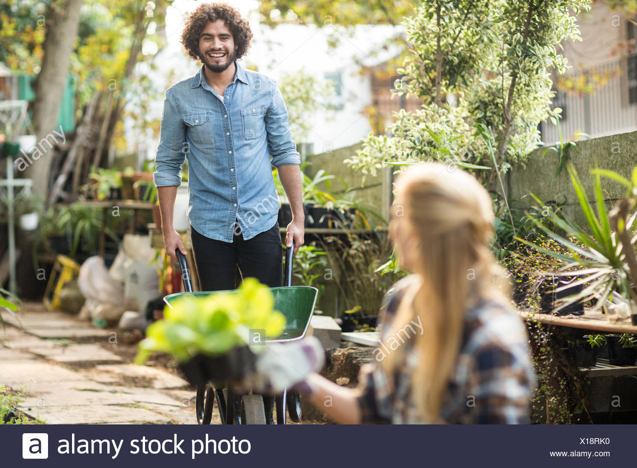 Gardener working while female coworker holding plants - Stock Image