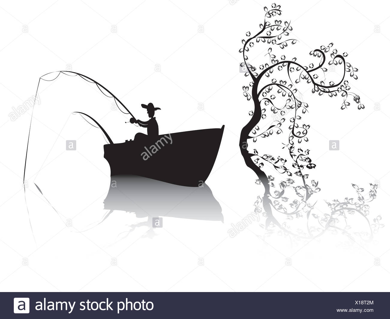Fisher on a lake - Stock Image
