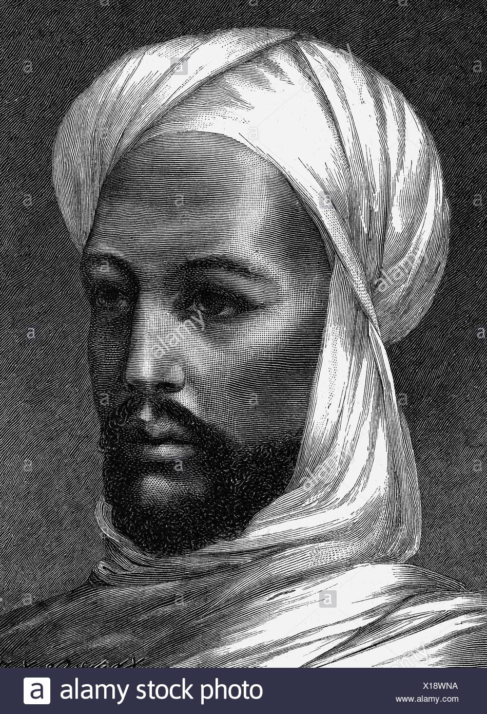Muhammad Ahmad bin Abd Allah, 12.8.1844 - 22.6.1885, Sudanese insurgent, portrait, wood engraving, 19th century, Additional-Rights-Clearances-NA - Stock Image