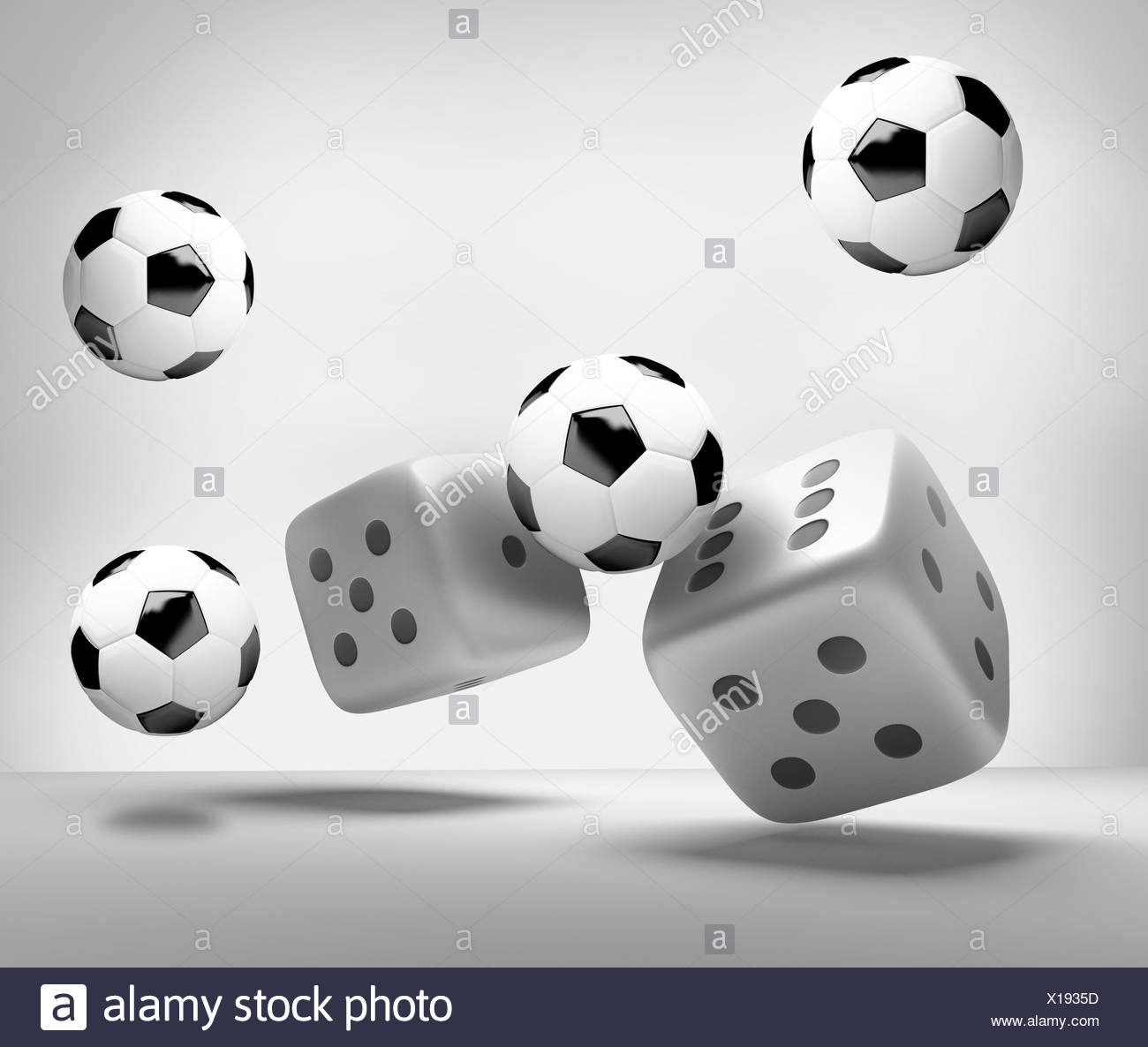 dices and soccer balls 3d render - Stock Image