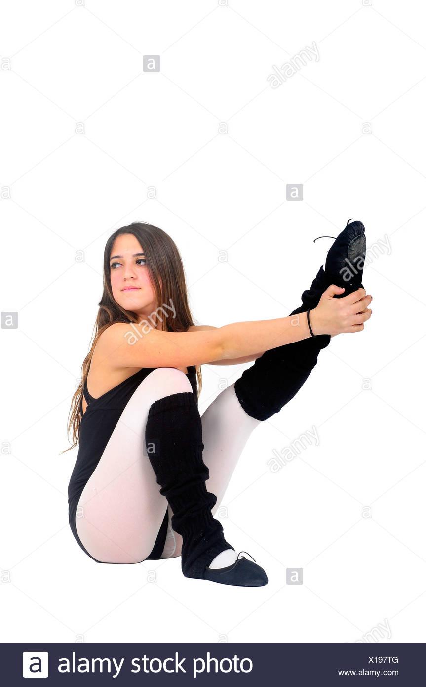 Female teen Ballet Dancer aged thirteen On white Background - Stock Image