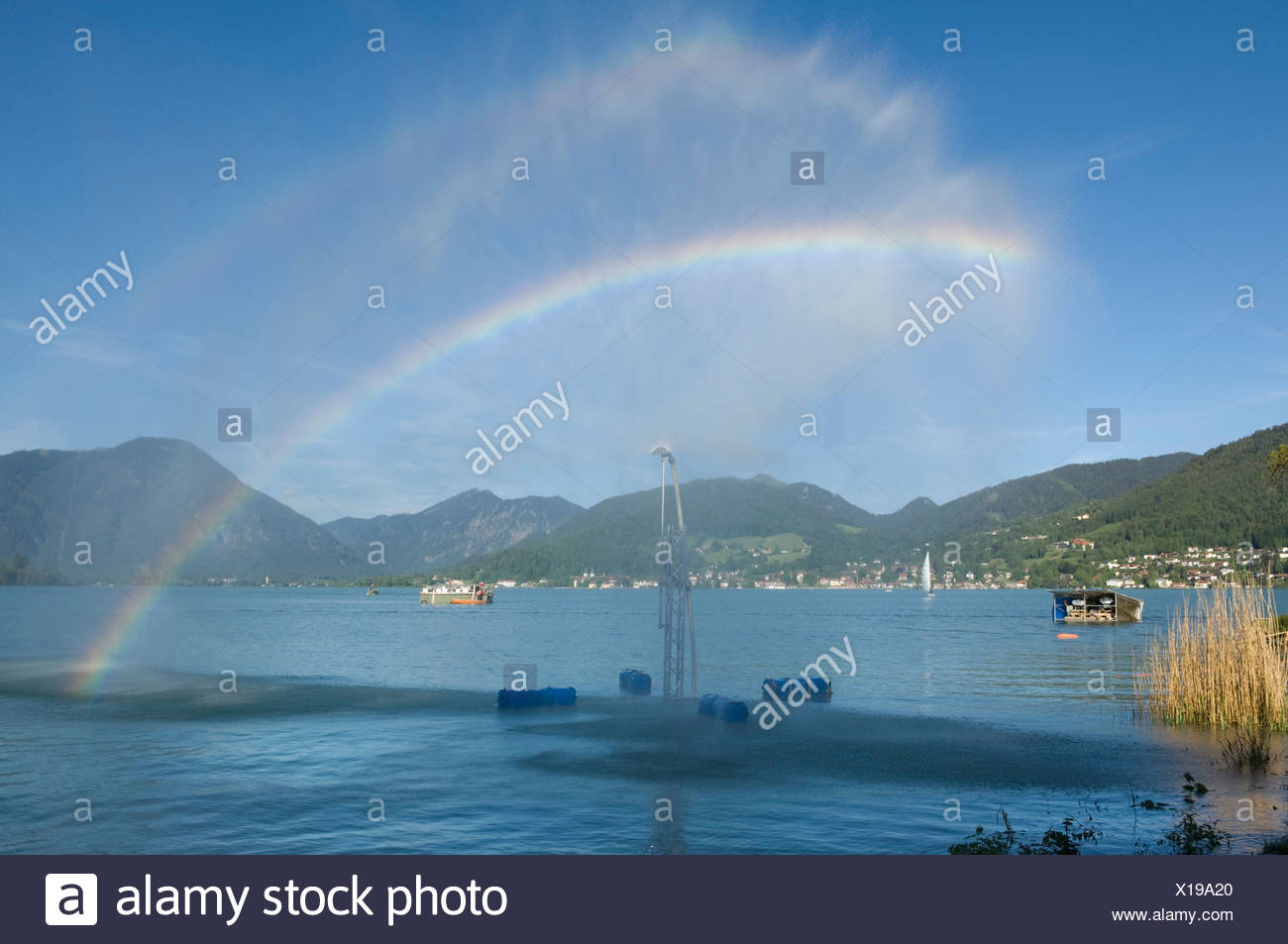 Openair trick fountains, Tegernsee lake, Bavaria, Germany, Europe - Stock Image