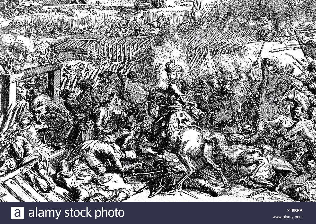 Charles XII, 27.6.1682 - 11.12. 1718, King of Sweden 15.4.1697 - 11.12.1718, scene, at the Battle of Narva, 30.11.1700, copper engraving by Hooghe, detail, Russian General Dolgoruki surrendering, Artist's Copyright has not to be cleared - Stock Image