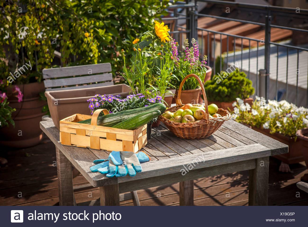 Fresh Vegetable and Fruits On Balcony, Munich, Bavaria, Germany, Europe - Stock Image