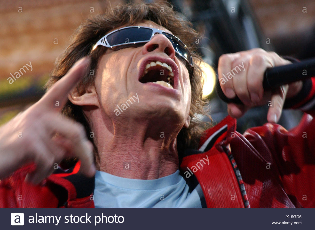 Mick Jagger during a Rolling Stones concert in Berlin - Stock Image