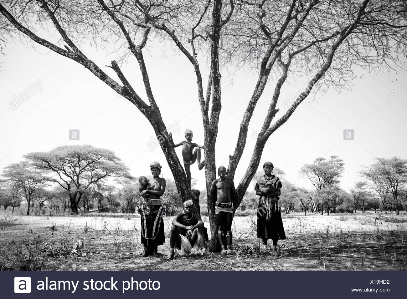 Portrait of a group of native people dressed in primitive, traditional attire posed beneath a wide-branched tree in desert setti Stock Photo