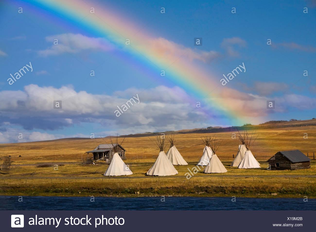 USA, Vereinigte Staaten, Amerika, Regenbogen, Tippi, Indianer, Inder, Haus