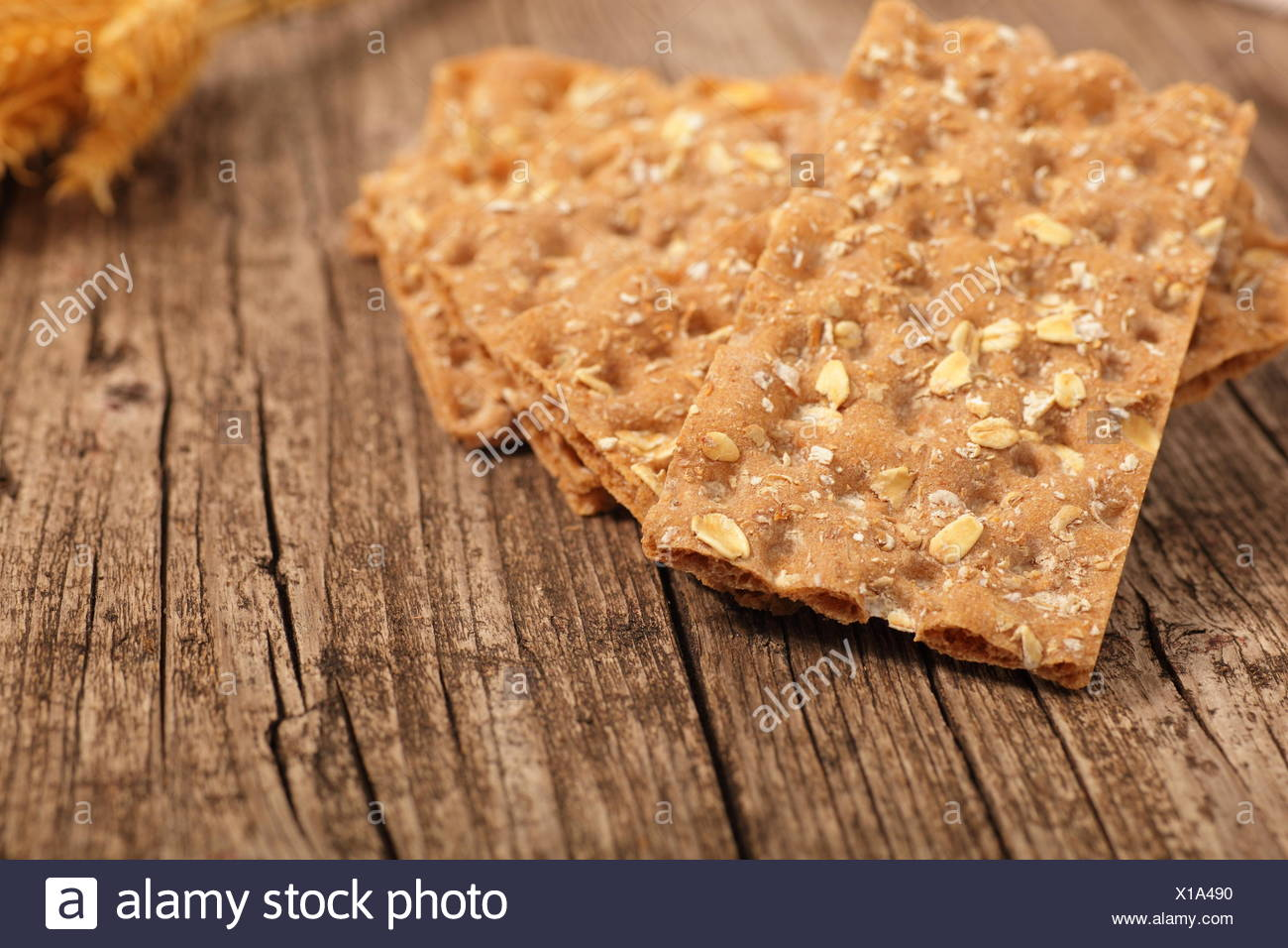 Wholegrain crispbread Stock Photo