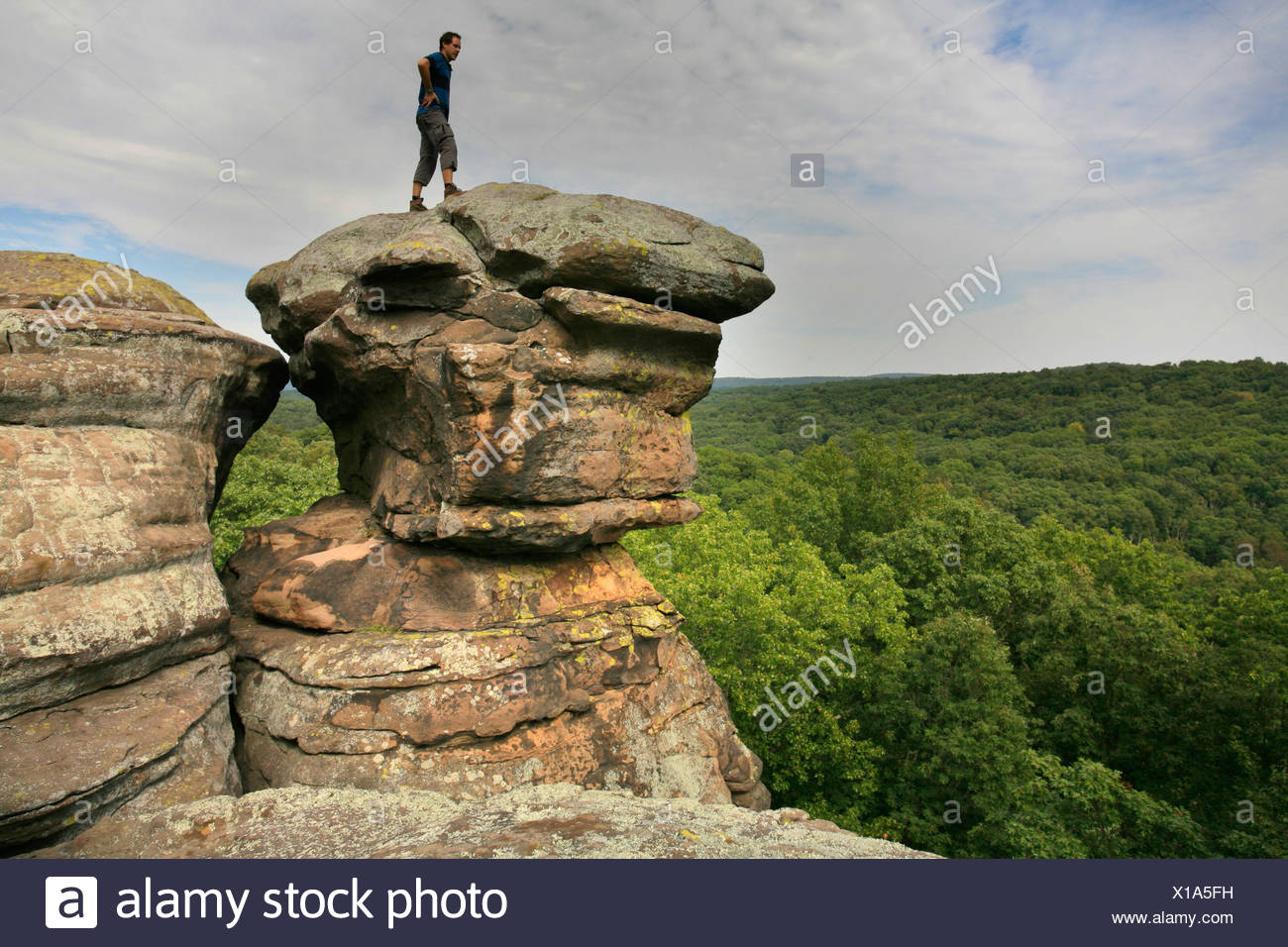 Hiker looking into the distance, sandstone rocks in the Garden of the Gods, Shawnee National Forest, Illinois, USA - Stock Image