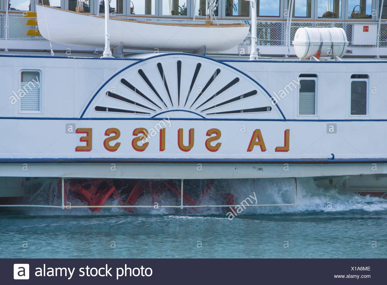 lake Geneva, steamboat, Lac Leman, steamboat, ship, boat, ships, boats, lake, lakes, canton, VD, Vaud, Western Switerland, Roman Stock Photo