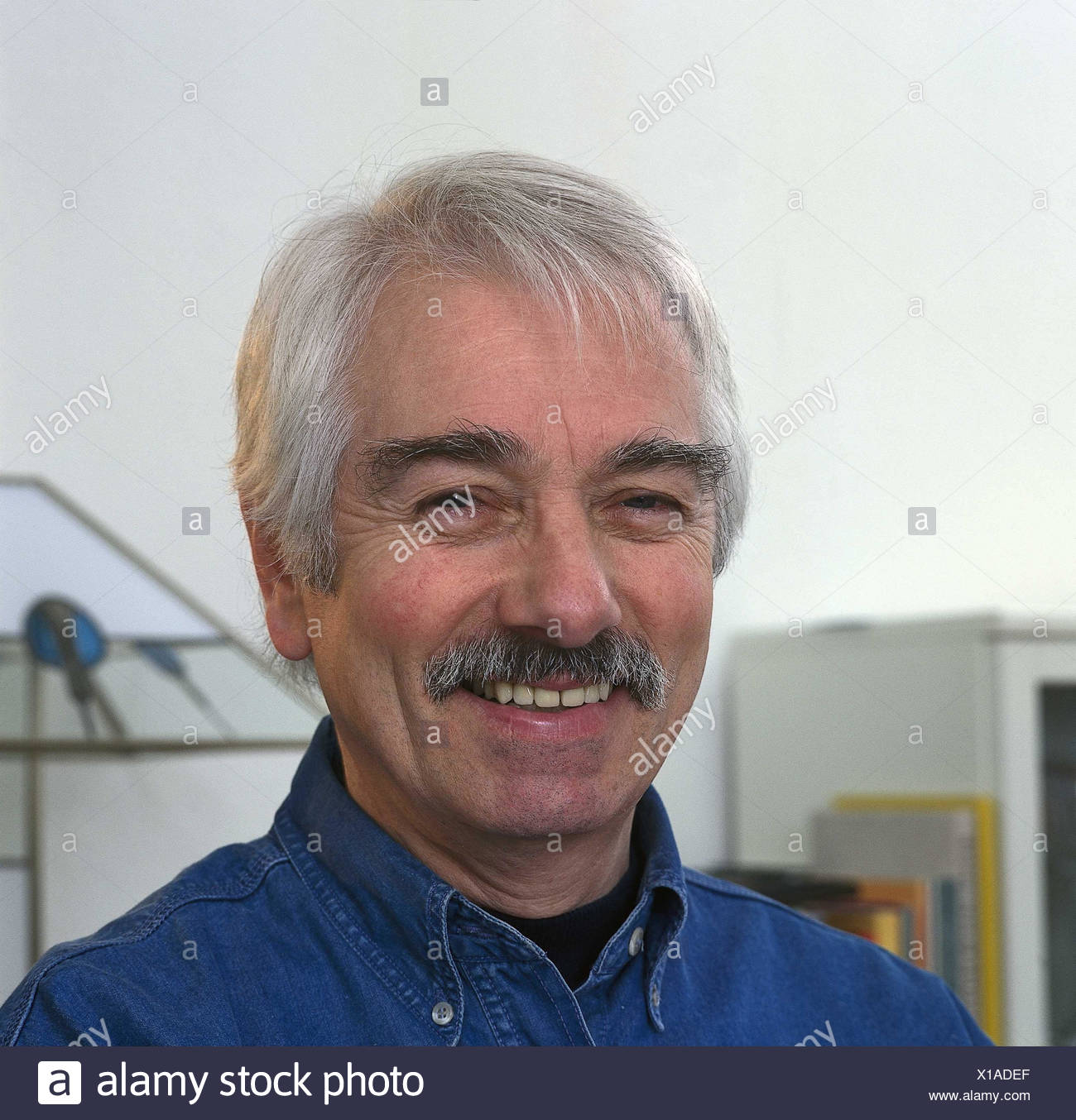 Man, smile, happy, grey-haired, moustache, portrait, inside, man's portrait, middle old person, view camera, happily - Stock Image