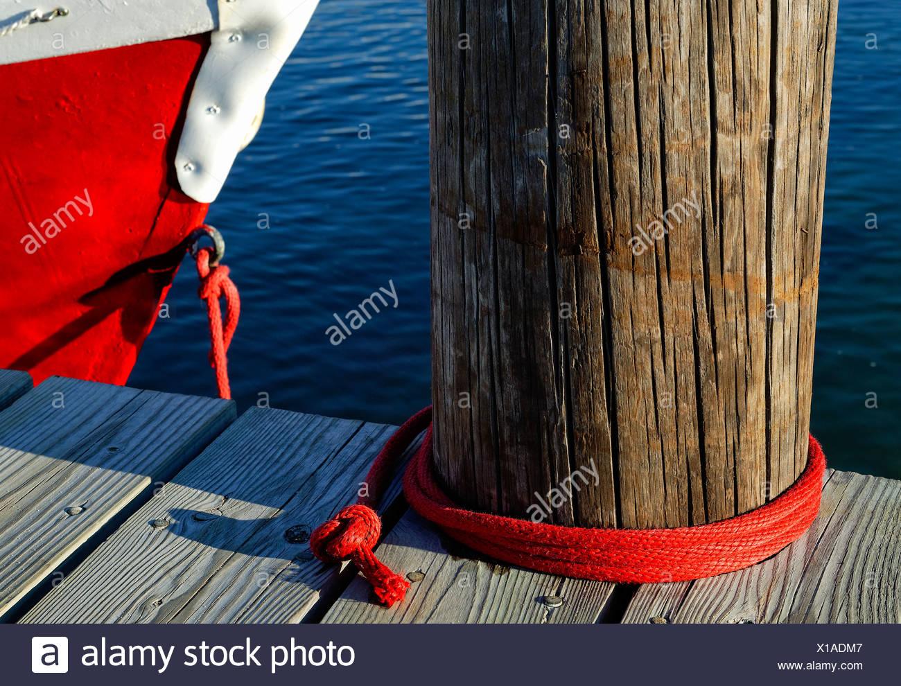 Boat tied to a dock, Vineyard Haven, Martha's Vineyard, Massachusetts, USA - Stock Image