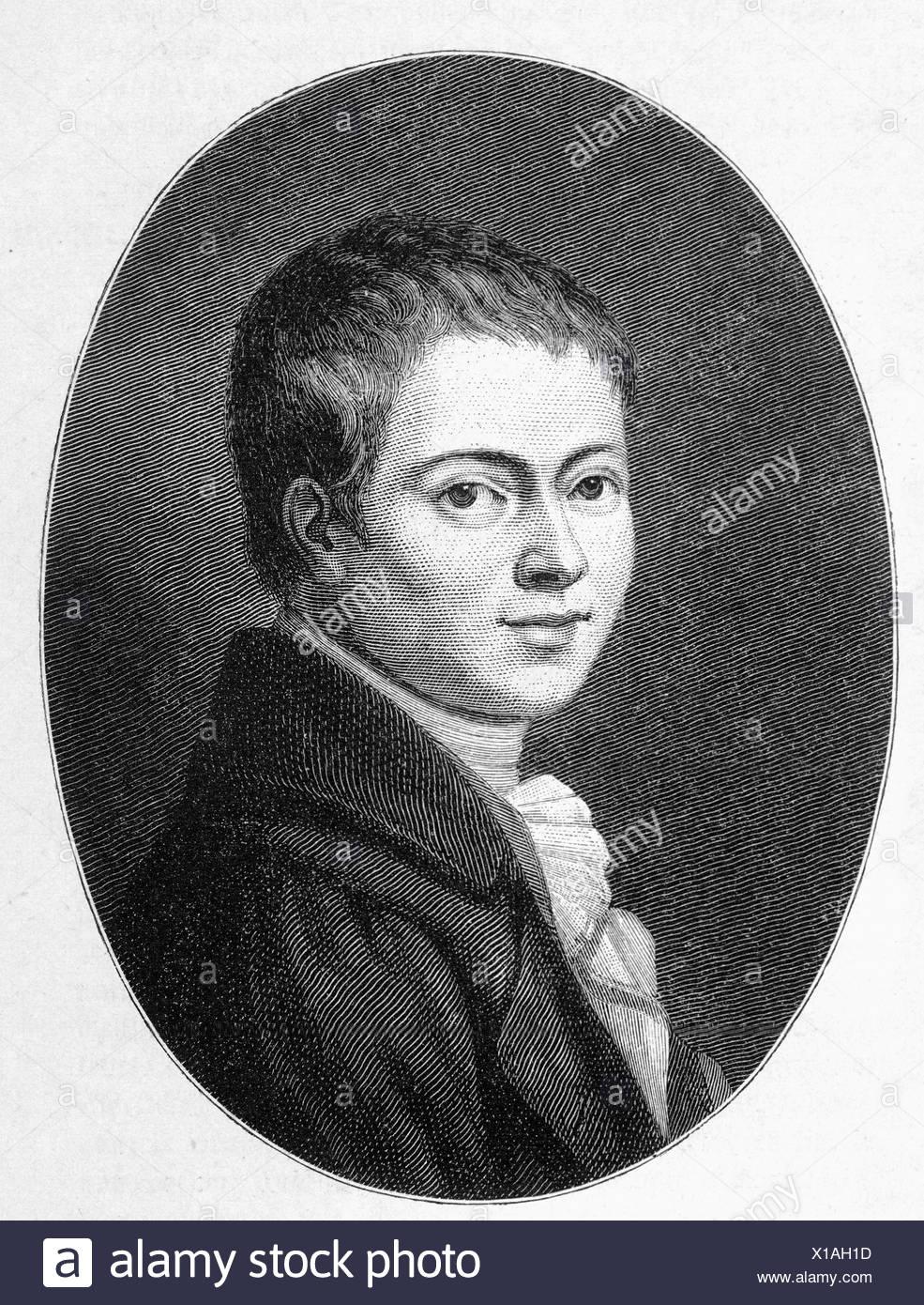 Heinrich von Kleist (1777-1811), dramatist, journalist, steel engraving, before 1880 - Stock Image