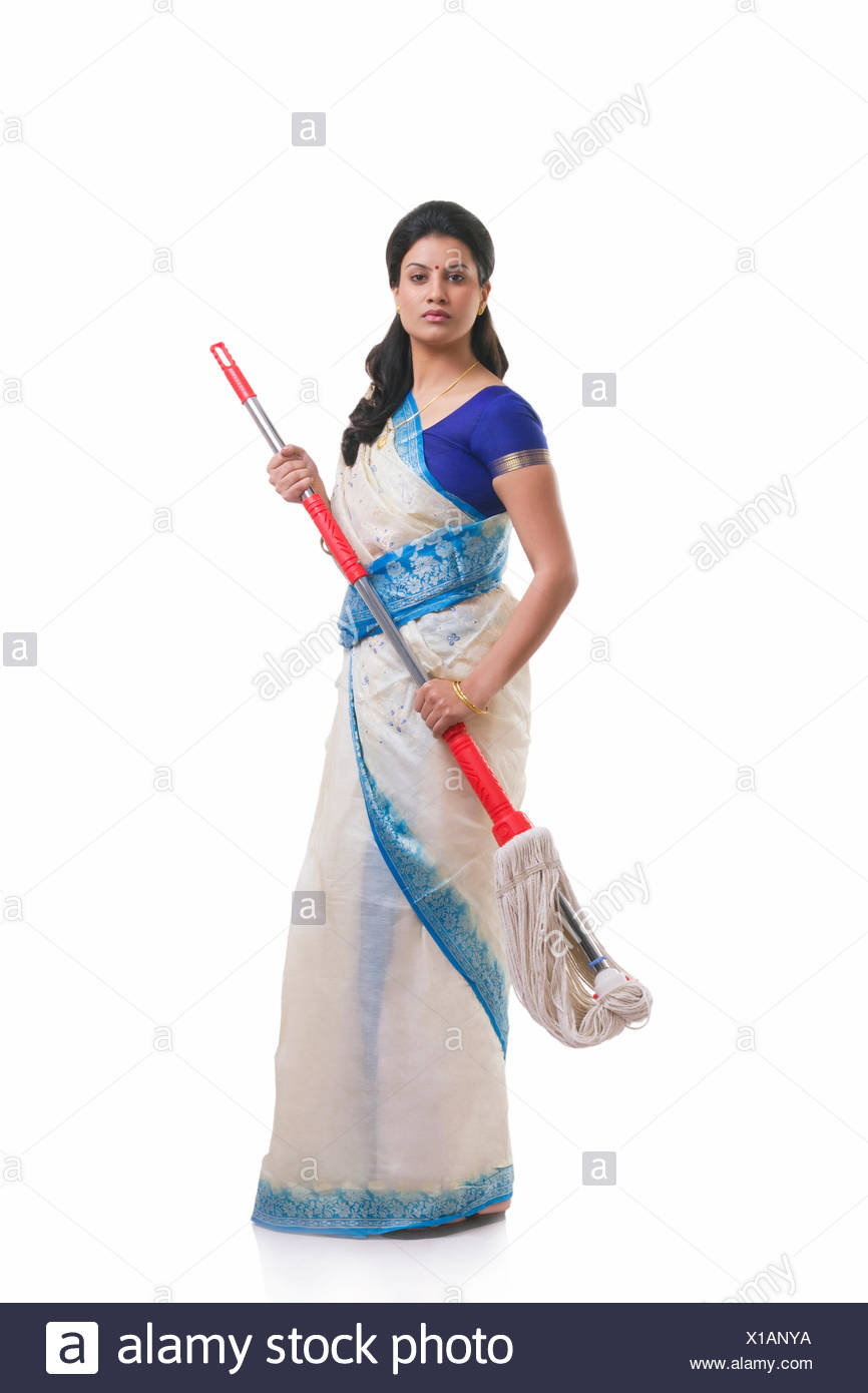 Portrait of a housewife with a mop - Stock Image