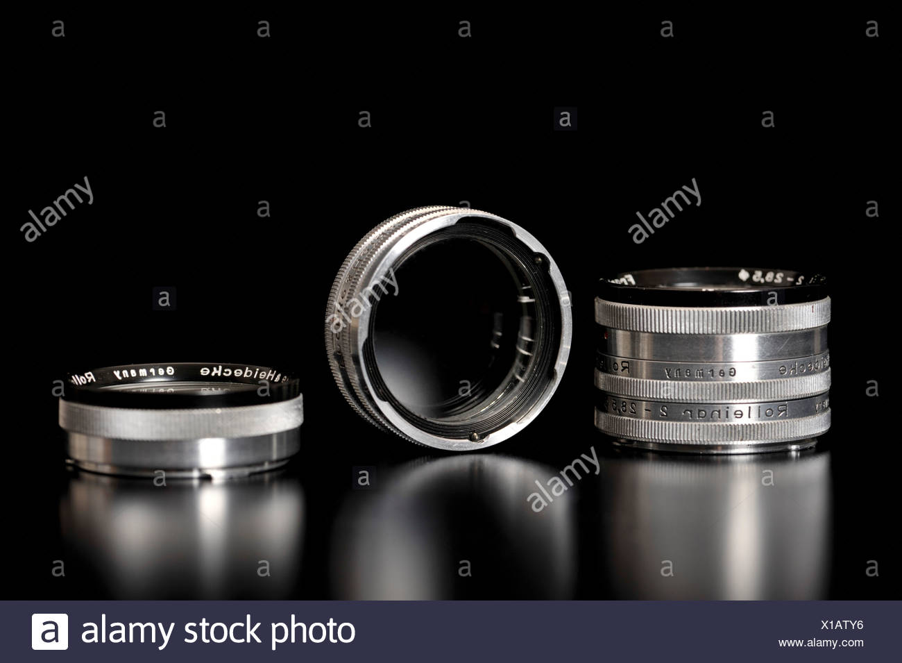 Old Rollei Rolleinar close-up lenses or filters - Stock Image