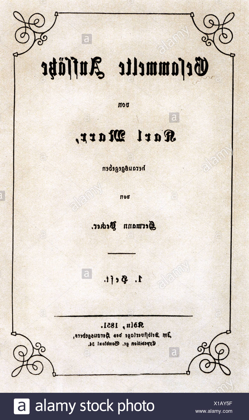 Marx, Karl, 5.5.1818 - 14.3.1883, German philosopher, works, 'Gesammelte Aufsätze', edited by Hermann Becker, Cologne, 1851, title,  , Additional-Rights-Clearances-NA - Stock Image