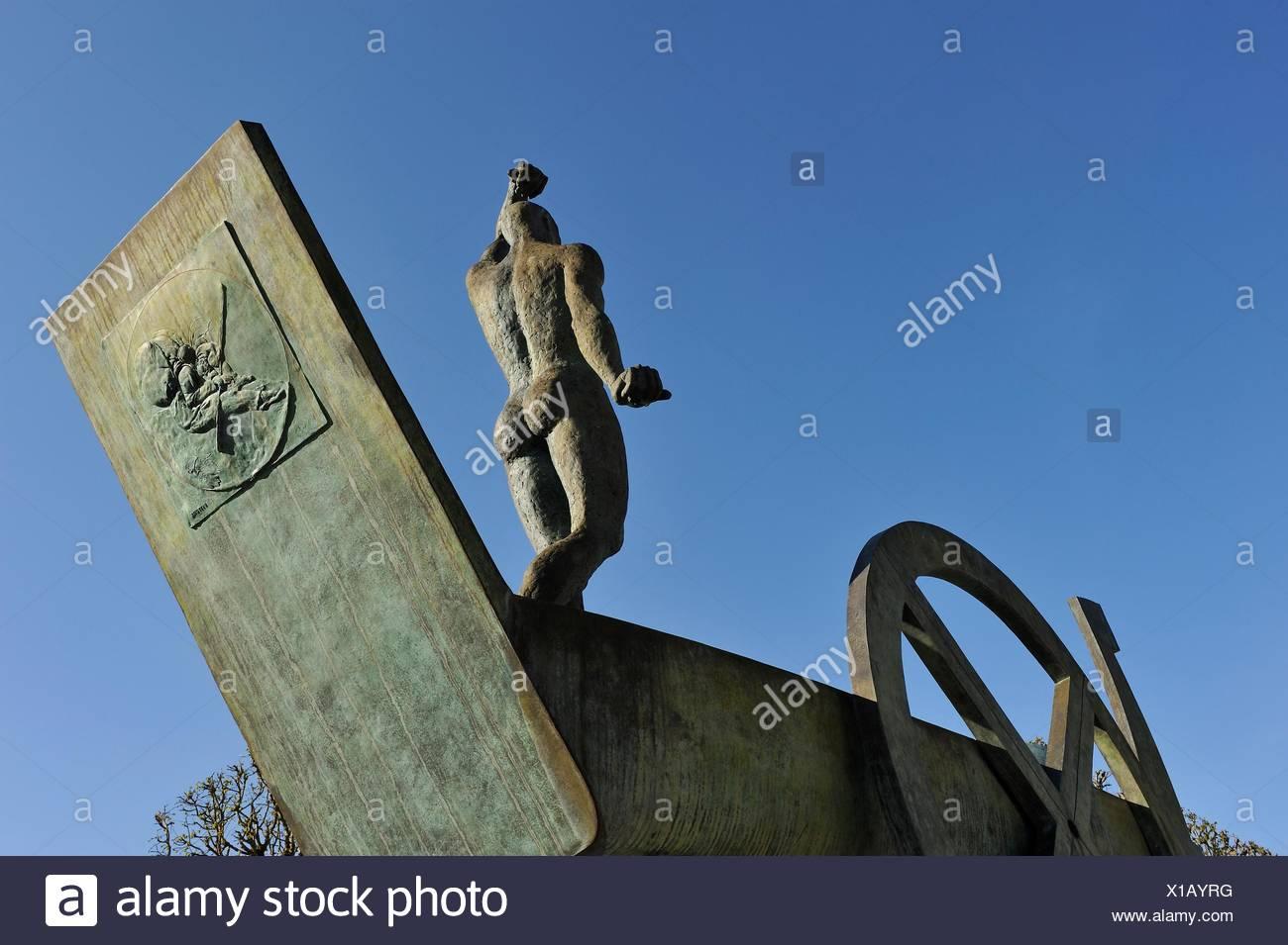 ´´Barque Solaire´´ work by the Franco-Czech sculptor Karel Zlin, Castle ´s park of Rambouillet, Department of Yvelines, Region of Ile-de-France, - Stock Image