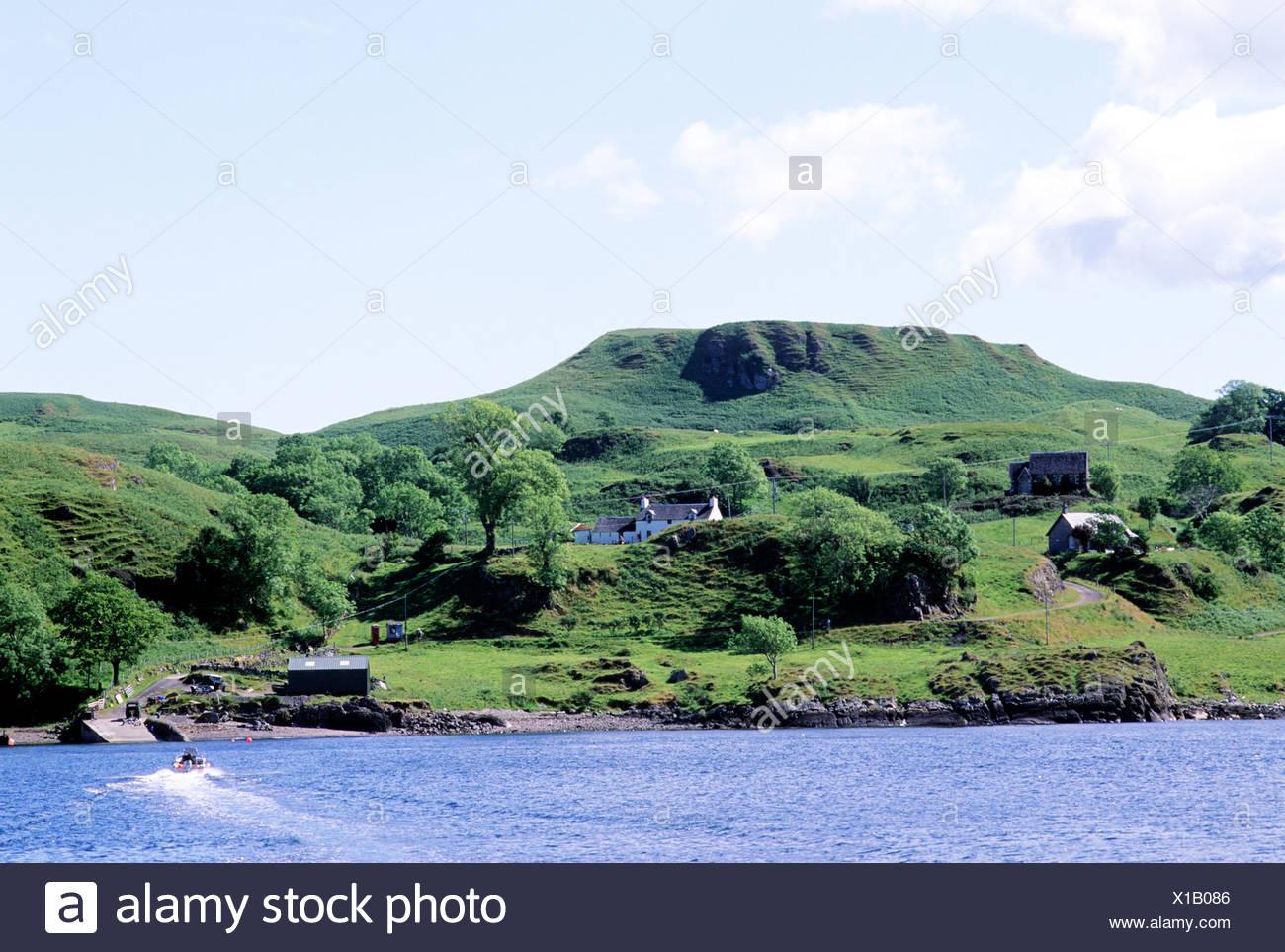 Kerrera Island, ferry from Oban, Scotland Scottish islands coast coastal scenery UK - Stock Image
