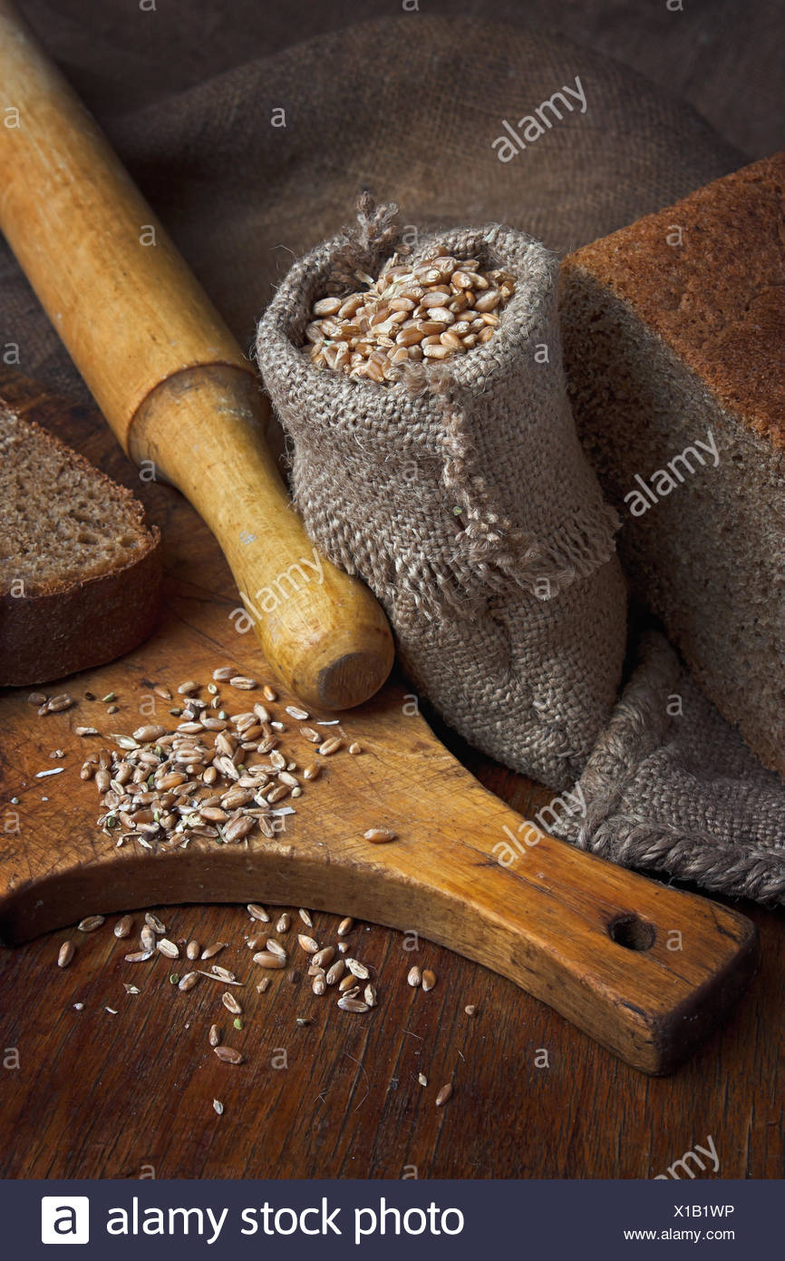 bag of wheat in the bakery - Stock Image