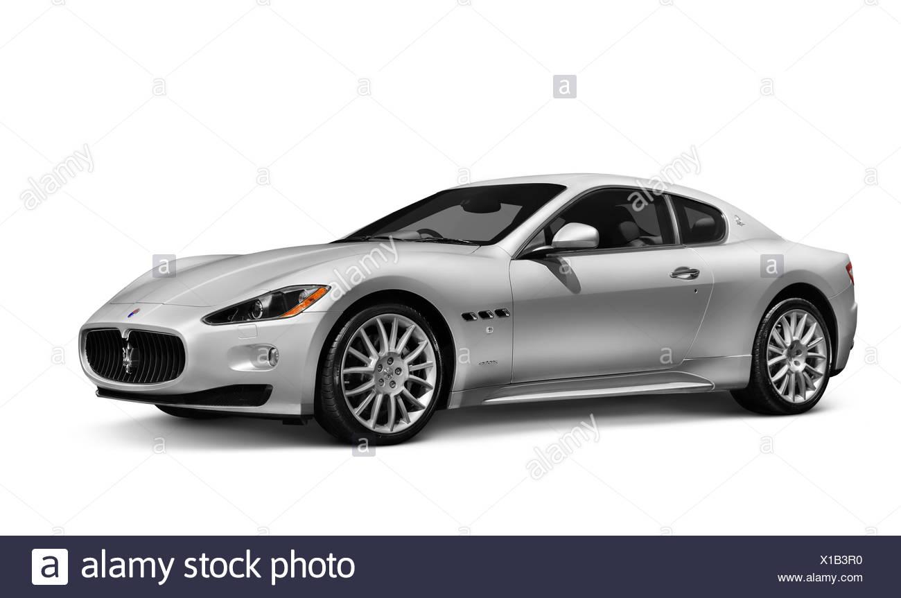 2010 Silver Maserati GranTurismo two-door coupe luxury car - Stock Image