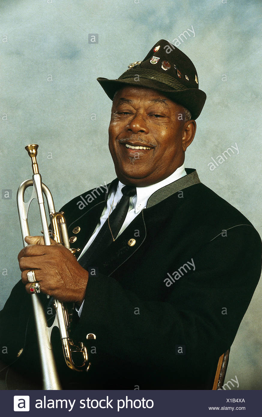 Mo, Billy, 22.2.1923 - 16.7.2004, German musician (jazz trumpeter), born as Peter Mico Joachim on Trinidad, half length, with trumpet, 1995, Additional-Rights-Clearances-NA - Stock Image