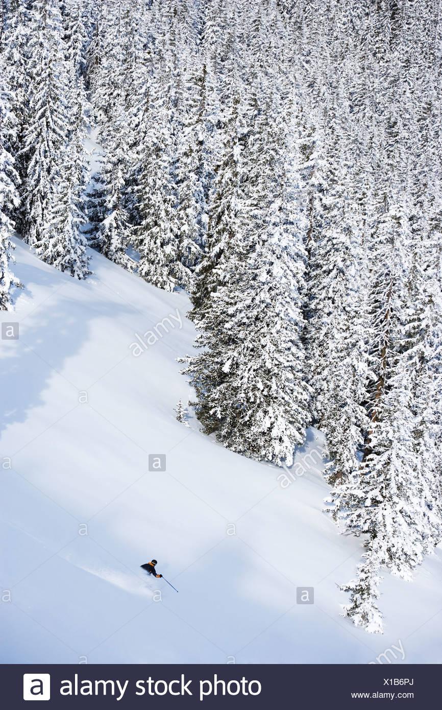 Man deep in backcountry. Stock Photo