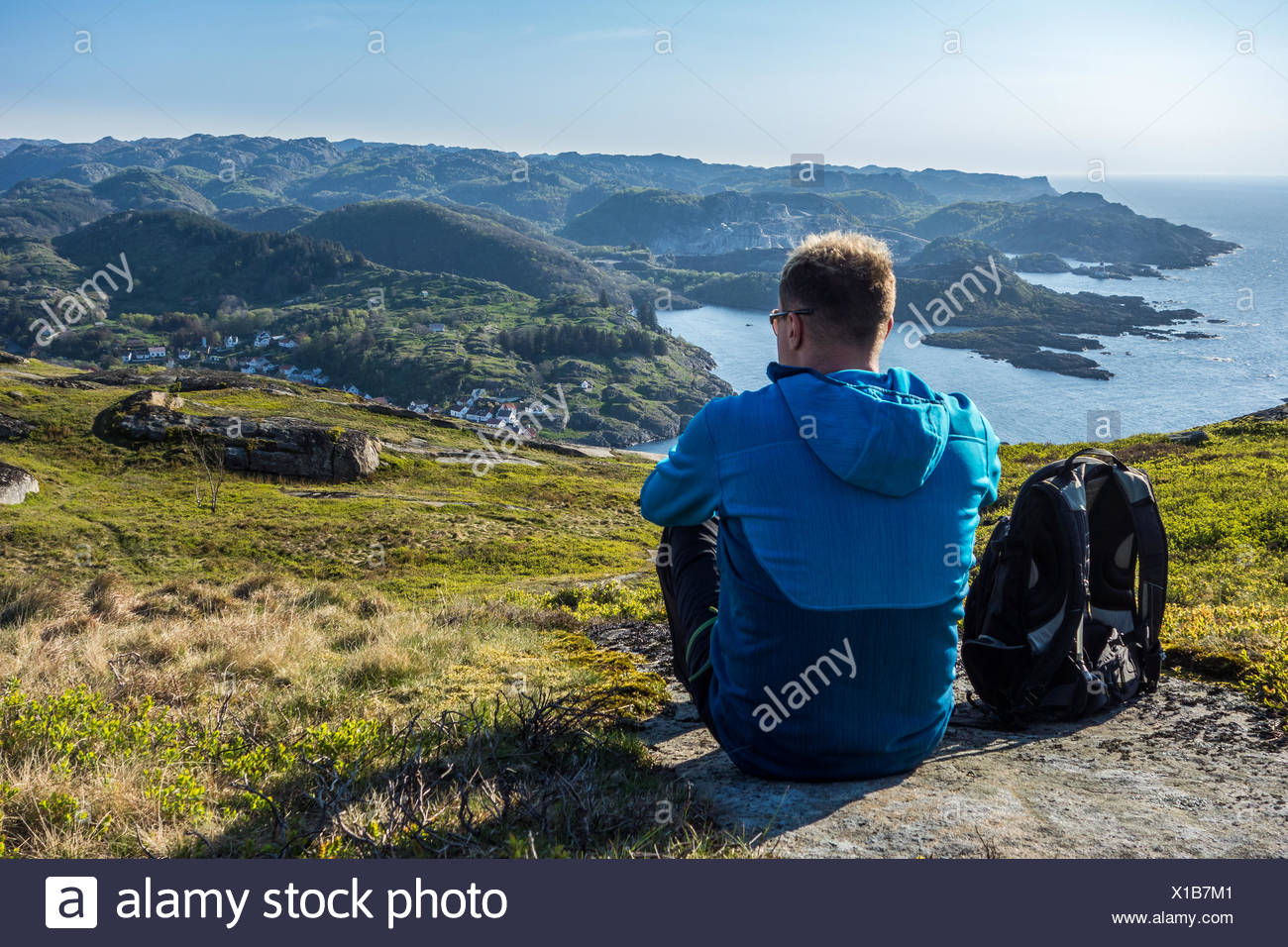 Man looking at Sognadalstrand, Rogaland, Norway - Stock Image