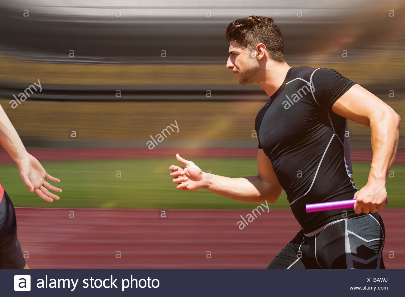 Composite image of athletic man running a relays - Stock Image