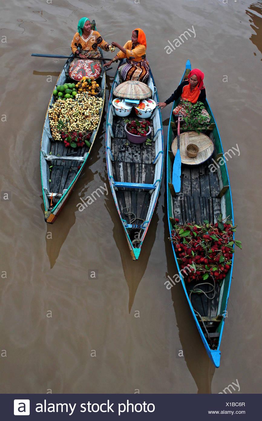 Indonesia, South Kalimantan, Lok Baintan, Floating Market - Stock Image